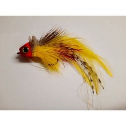 Big Solid Pike Fly  Yellow Red Head